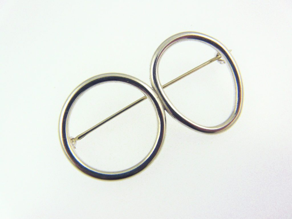 Double halo brooch, sterling silver wire