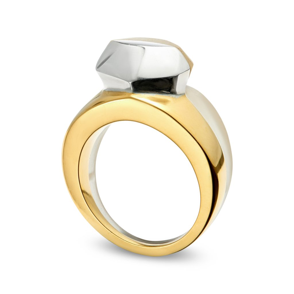 Diamond ring, clear cast resin and cast sterling silver with gold plate