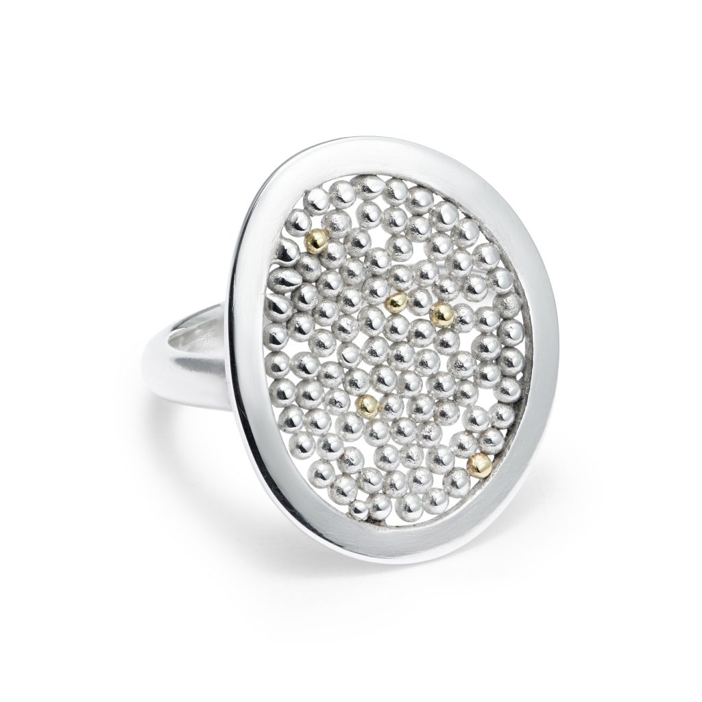 Halo ring with open granulation, fine and sterling silver with 18ct yellow gold detail