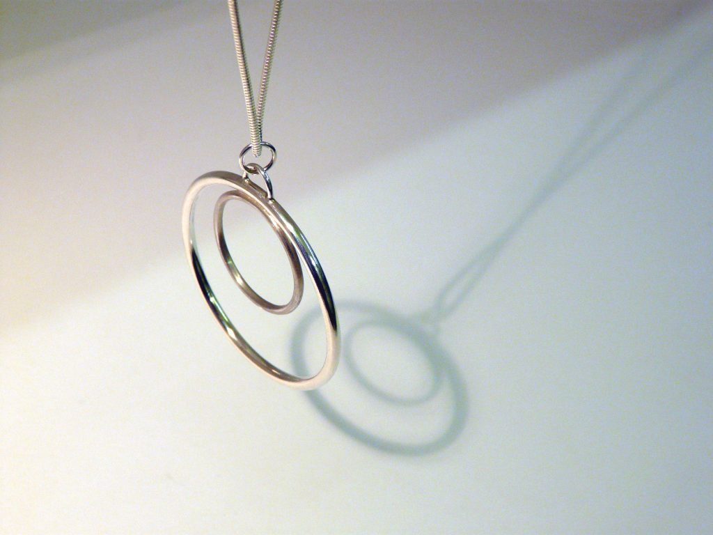Sterling silver double Halo pendant