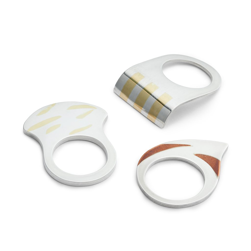 Inlay rings, sterling silver inlaid and laminated with 18ct yellow gold and copper