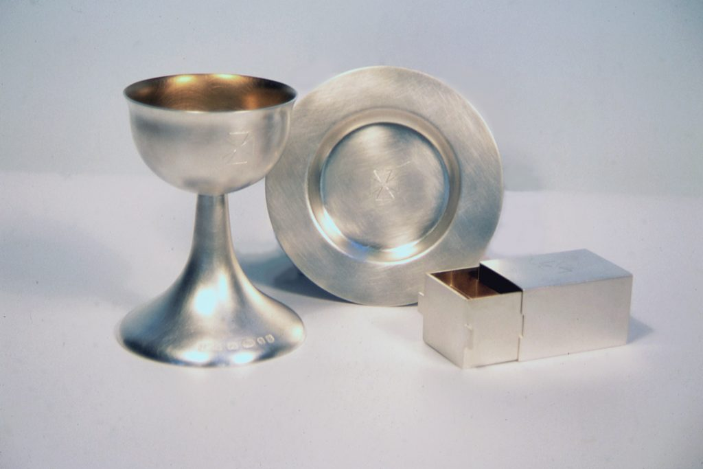Sterling silver travelling communion set, commissioned by the Bishopsland Trust for Shiplake Church