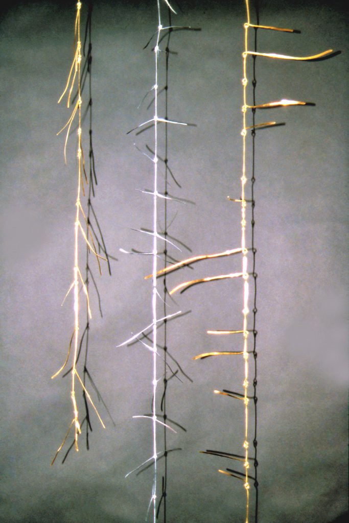 Hanging brass and galvinised steel vines with kinetic leaves